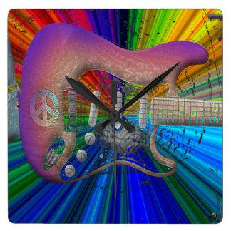 Reloj vivo de la guitarra de la paz de los colores