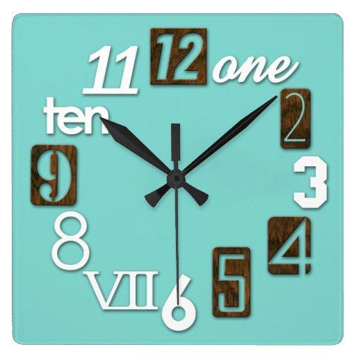 Relojes de pared cuadrados enrrollados de numbra zazzle for Plafones cuadrados de pared