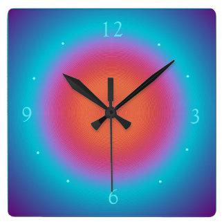 Reloj Cuadrado Relojes rosados anaranjados iluminados aguamarina