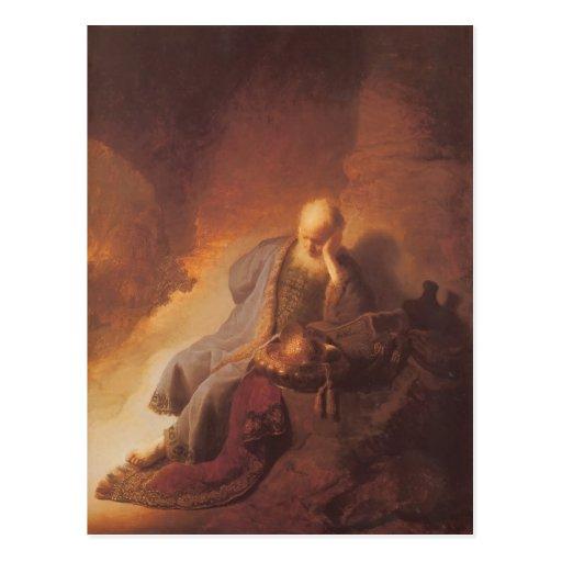 Rembrandt-Luto sobre la destrucción de Jerusalén Tarjetas Postales