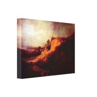 Rembrandt - paisaje con bautismo lona envuelta para galerías