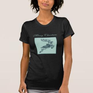 Remiendo lindo de moda del reno del navidad camisetas