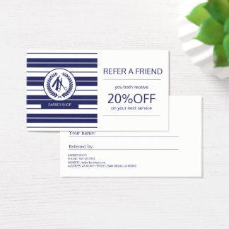 Remisión moderna rayada del logotipo blanco de la tarjeta de negocios