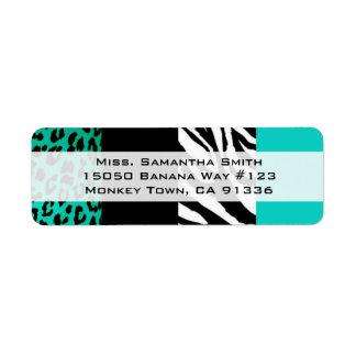 Remite azul del estampado de animales del leopardo etiqueta de remitente