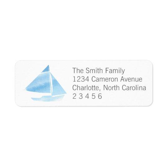 Remite azul del velero de la acuarela etiqueta de remite