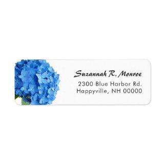 Remite blanco del Hydrangea floral azul brillante Etiqueta De Remitente
