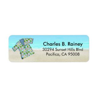 Remite de la camisa tropical hawaiana de la playa etiquetas de remite
