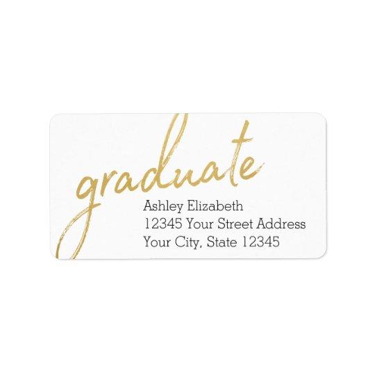 Remite de la graduación moderna graduada del oro etiqueta de dirección
