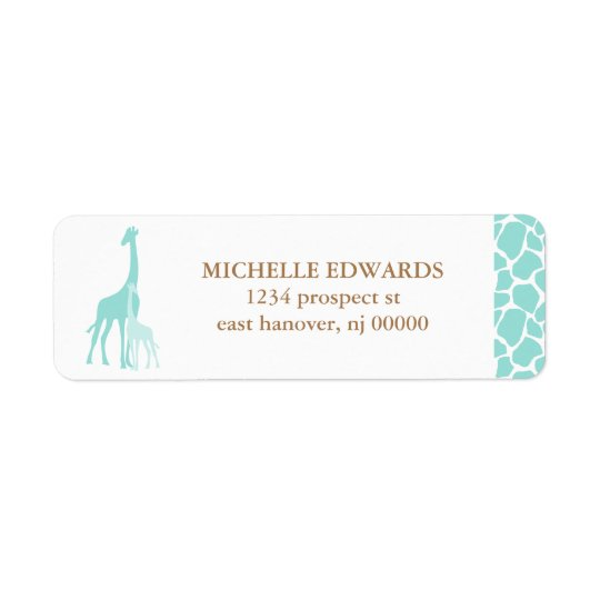 Remite de la jirafa de la mamá y del bebé etiqueta de remite
