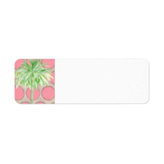 Remite de la palmera - lunares rosados bonitos etiqueta de remitente