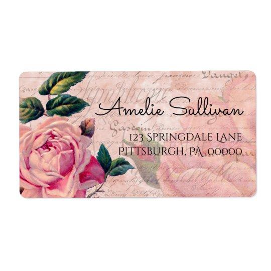 Remite de las Ephemeras francesas florales rosadas Etiquetas De Envío