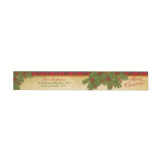 Remite de Navidad de la tela escocesa tradicional Etiquetas Envolventes De Remitente
