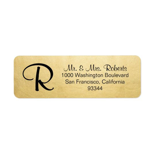 Remite de oro de la hoja de la letra elegante del etiqueta de remitente