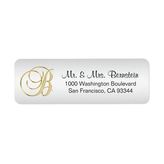Remite DE PLATA elegante de la letra B del Etiqueta De Remitente