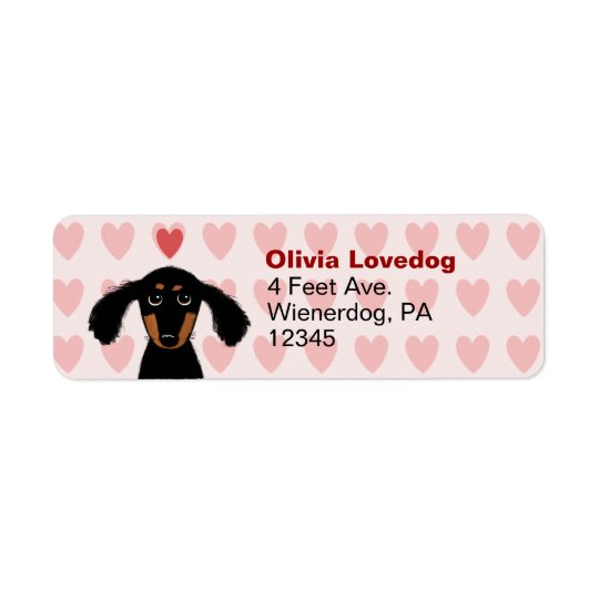 Remite del Dachshund del amor lindo de la tarjeta Etiqueta De Remitente