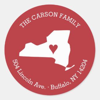 Remite del Estado de Nuevo York con el corazón en Pegatina Redonda