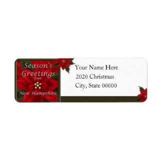Remite del Poinsettia del navidad de New Hampshire Etiqueta De Remite
