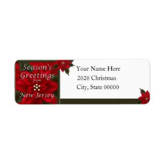 Remite del Poinsettia del navidad de New Jersey Etiqueta De Remite