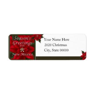 Remite del Poinsettia del navidad de New México Etiqueta De Remitente