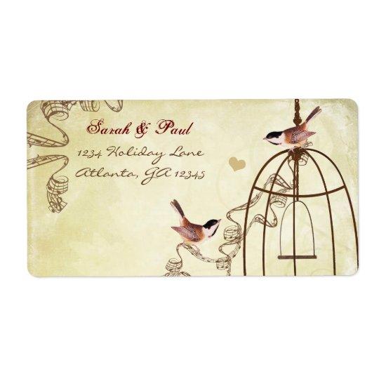Remite del remolino musical de la jaula de pájaros etiquetas de envío