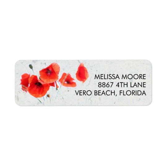 Remite floral de la amapola roja moderna etiquetas de remite