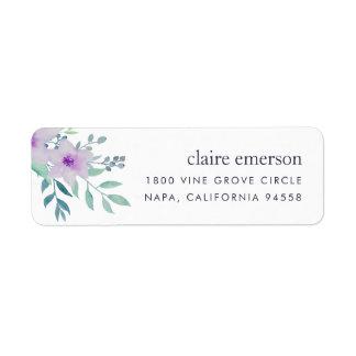 Remite floral violeta y sabio etiqueta de remite