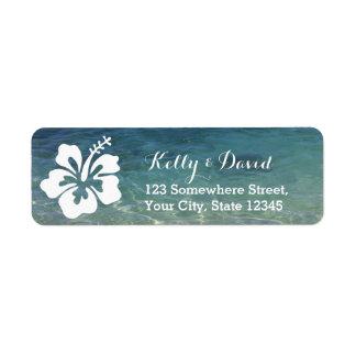 Remite hawaiano del boda de playa del hibisco etiquetas de remite