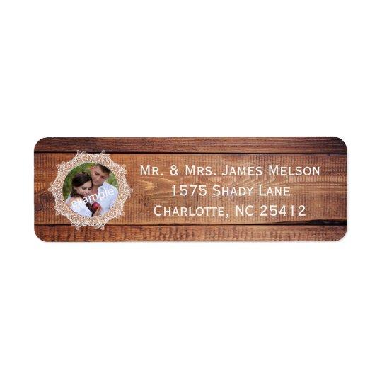 Remite rústico de madera y del cordón de la foto etiqueta de remite