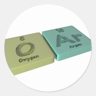Remo como el oxígeno de O y argón de AR Etiquetas Redondas