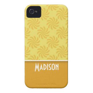 Remolino amarillo-naranja lindo iPhone 4 Case-Mate carcasas