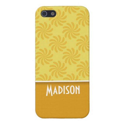 Remolino amarillo-naranja lindo iPhone 5 carcasa