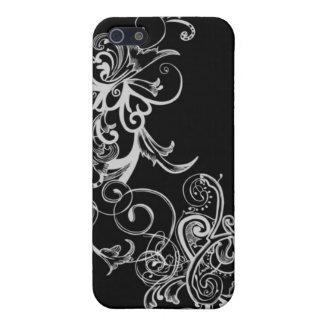 Remolino de la flor negra y blanca iPhone 5 carcasas