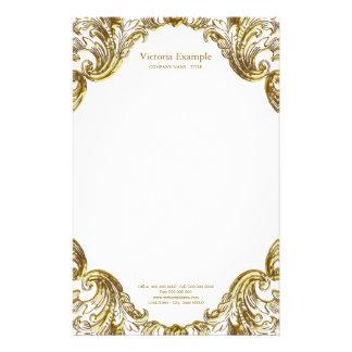 Remolino de lujo elegante del oro papelería