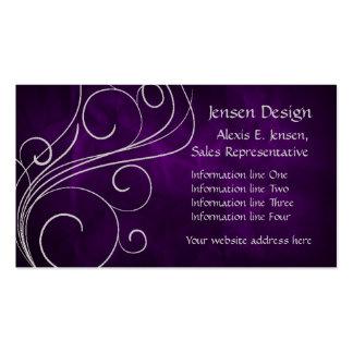 Remolino de plata púrpura elegante tarjetas de visita