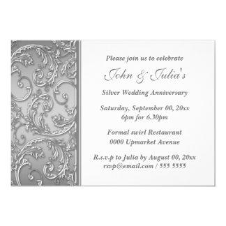 Remolino floral del aniversario de bodas de plata invitación 12,7 x 17,8 cm