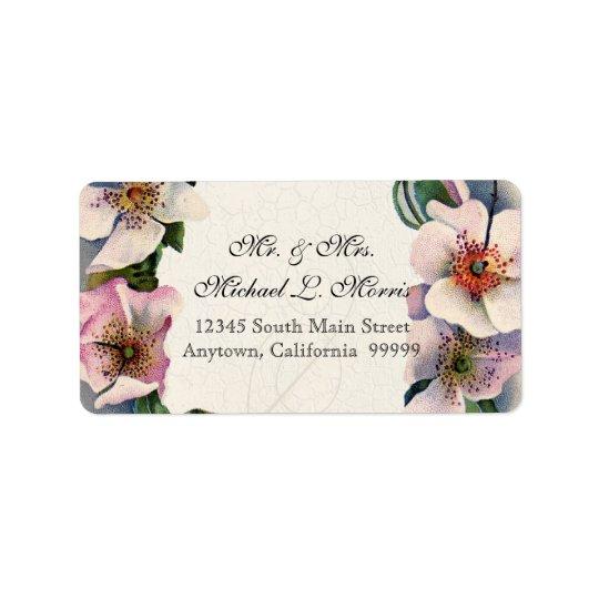 Remolino floral del rosa del rosa salvaje del cord etiquetas de dirección
