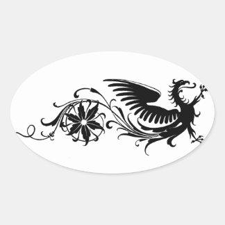 Remolino místico de la flora del dragón calcomanía de oval