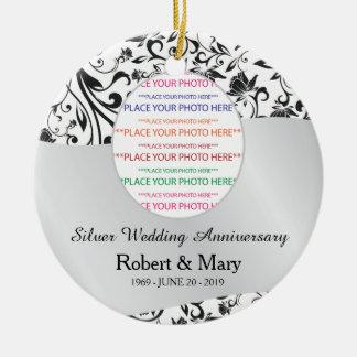 Remolino negro y 25to aniversario de boda de la ornamento de navidad