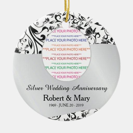 Remolino negro y 25to aniversario de boda de la pl ornamento de navidad