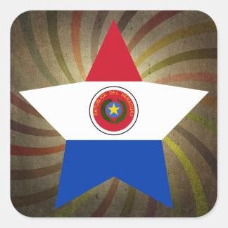 Remolino paraguayo de la bandera del vintage pegatina cuadrada