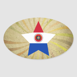 Remolino paraguayo de la bandera del vintage pegatina ovalada