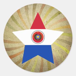 Remolino paraguayo de la bandera del vintage pegatina redonda