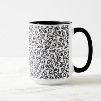 remolinos blancos y negros de la taza de café