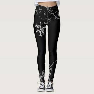 Remolinos blancos y negros del copo de nieve leggings