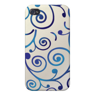 Remolinos de la magdalena de PixDezines, azules+fa iPhone 4 Protectores