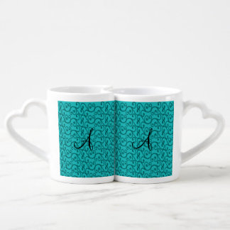 Remolinos de la turquesa del monograma tazas amorosas