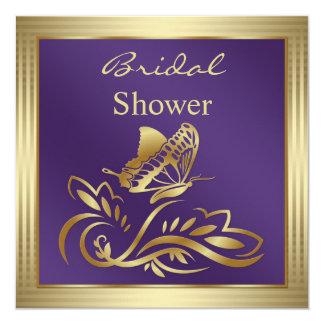 Remolinos de la violeta y del oro y ducha nupcial invitación 13,3 cm x 13,3cm