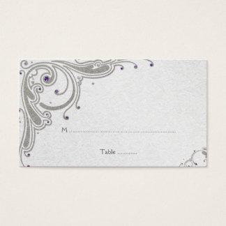 Remolinos de plata del brillo + tarjeta púrpura