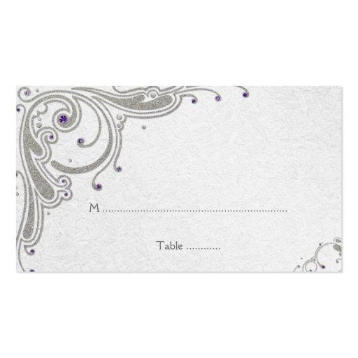 Remolinos de plata del brillo + tarjeta púrpura de tarjeta de negocio