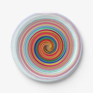 Remolinos del color primario plato de papel